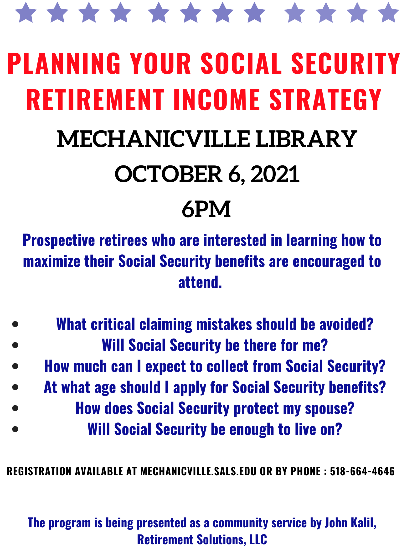 Social Security Strategies for 2021 @ Mechanicville District Public Library | Mechanicville | New York | United States