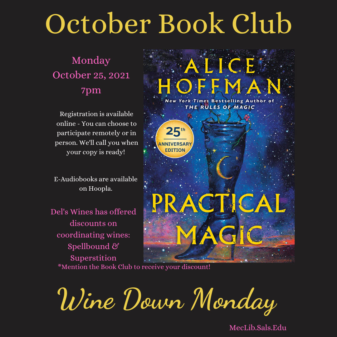 Wine Down Book Club: Practical Magic @ Mechanicville District Public Library | Mechanicville | New York | United States